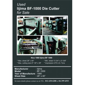 Used Iijima BF-1000 Die Cutter for SALE